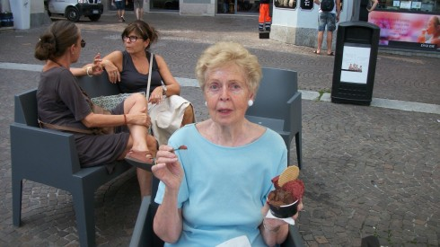 Mom with Raspberry and Chocolate Gelato